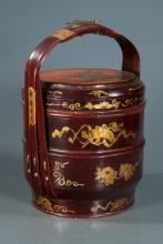 Chinese lacquered three part rice basket with floral decoration, 16