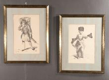 Pair of framed prints of a Scottish man carrying a large basket on his back and a Scottish lady in a long dress and displaying three hats, overall size: 22