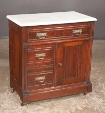 Eastlake mahogany marble top wash stand with one drawer below the top, two half drawers and a panelled door on moulded base, c.1890, 29