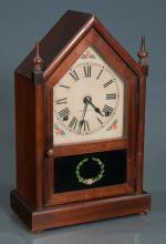 Seth Thomas mahogany steeple clock with turned finials, 9