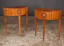 Pair of Italian satinwood demilune console tables with rosewood and satinwood banded tops, c.1900, 24