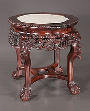 Chinese carved teakwood stand with inset marble top, c.1900, 15