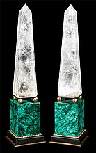 Exquisite pair of French rock crystal and malachite obelisk, 15