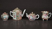 Chinese rose medallion tea pot, 6