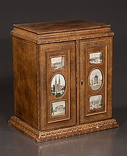 Leather cased jewelry box fitted with six drawers, doors, and six architectural scenes, 10