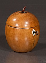Fruitwood apple form tea caddy with ivory escutcheon, 5