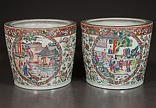 Pair of Chinese porcelain planters with palace scene, figural and floral decoration, 14