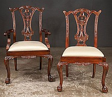 Set of eight Chippendale style mahogany dining chairs with carved backs, carved aprons cabriole legs with ball and claw feet; armchairs-24