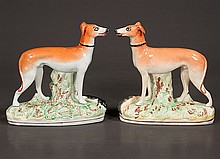 Pair of decorated Staffordshire whippets, c.1890, 7