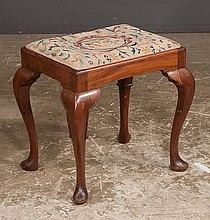 Queen Anne style mahogany stool with needlepoint cushion, cabriole legs and pad feet, c.1900, 18