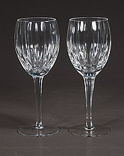 Set of eight cut crystal wine goblets, 9