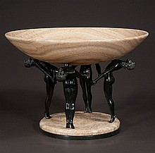 Art Deco style marble and bronze center piece bowl supported on four bronze female nudes on a marble base, 14