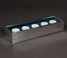 Christian Dior silver plated cigarette box with five white medallions in a glass enclosed lid, marked