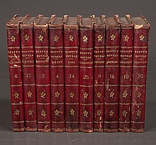 Group of ten leather bound books,