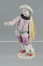 German Meissen porcelain figure of a young man wearing a turban and cape, 5