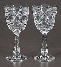 Set of eight cut crystal wine goblets, signed
