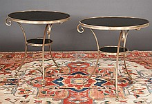 Pair of French bronze marble top salon tables on splay legs with scroll tops and claw feet, c.1900, 27