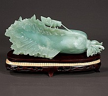 Chinese carved jade figure of a bok choy with a grasshopper at the top, 13
