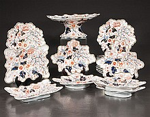English ironstone dessert service with cobalt blue, gold and bittersweet, leaf and floral decoration, c.1860, 25 pieces