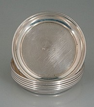 Set of six sterling silver butter pats, c.1920, 3