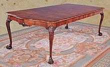 Chippendale walnut extending dining table with cross-banded top, serpentine shaped ends, cabriole legs and ball and claw feet, c.1890, 72