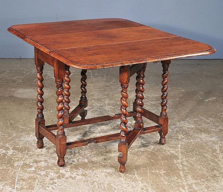 oak gateleg table with barley twist legs