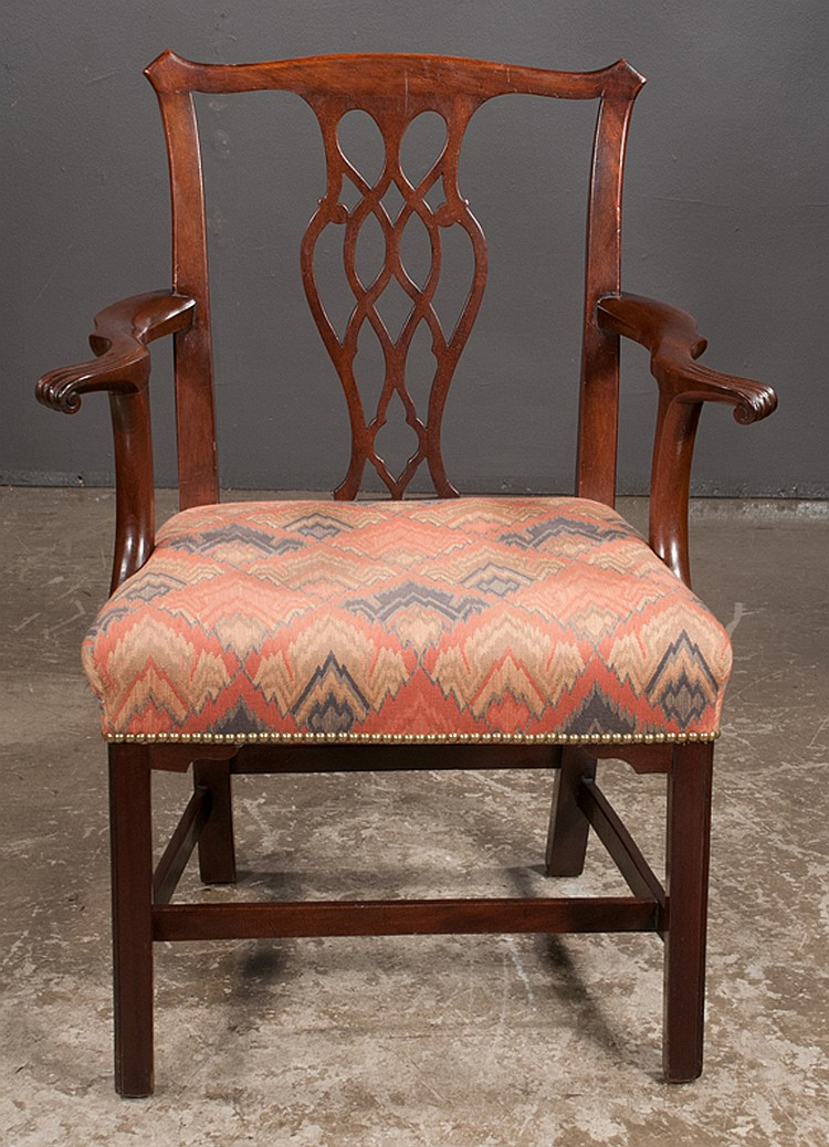 Chippendale mahogany armchair with pierced carved back scro for Furniture northgate