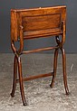 Sheraton mahogany travelling lap desk on a folding stand, c.1880, 24