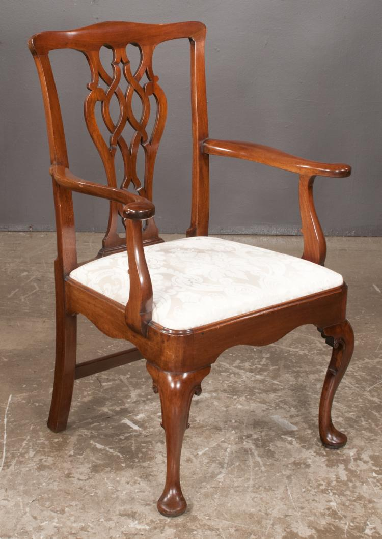 Georgian design mahogany armchair with pierced carved back for Furniture northgate