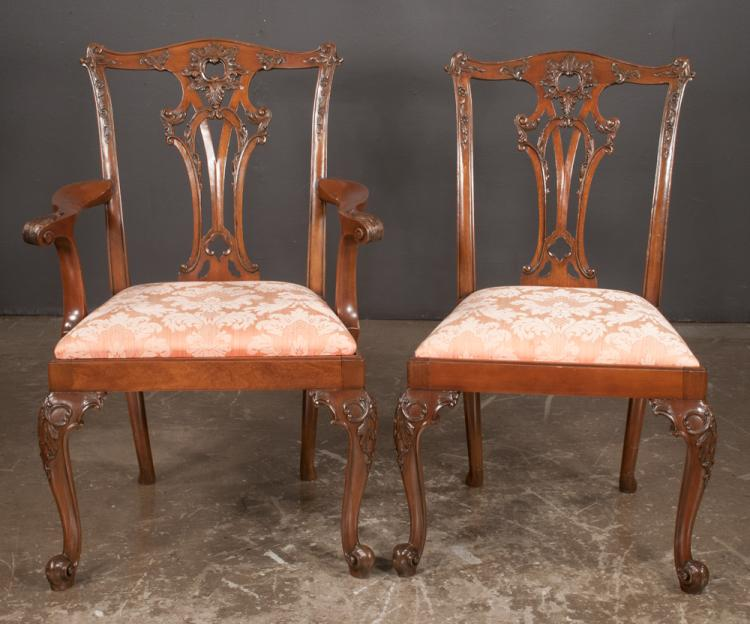 Set of ten chippendale design mahogany dining chairs with pi for Furniture northgate