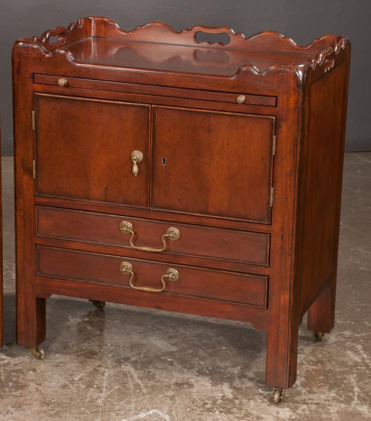 Pair of mahogany bedside cabinets with gallery tops with han for Furniture northgate