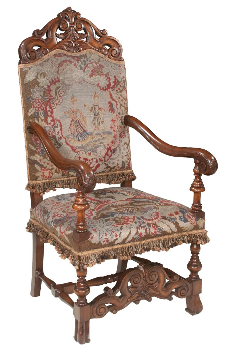 Country french walnut fauteuil with pierced scroll carved ba for Furniture northgate