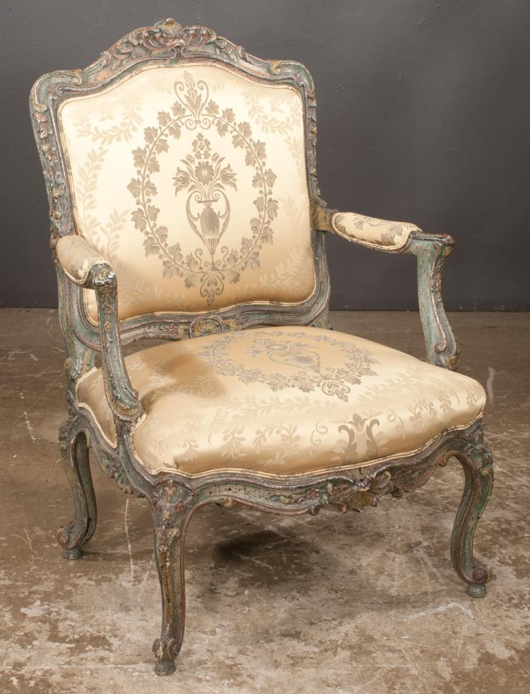louis xv design fauteuil with arched and scroll carved back. Black Bedroom Furniture Sets. Home Design Ideas