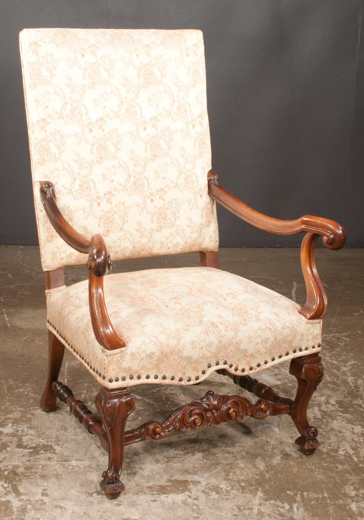 Country french design fruitwood upholstered armchair with ca for Furniture northgate