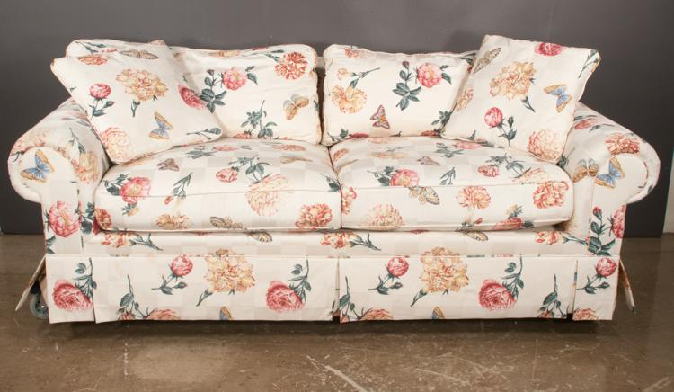 Modern roll over arm sofa with butterfly and floral designed for 80s floral couch