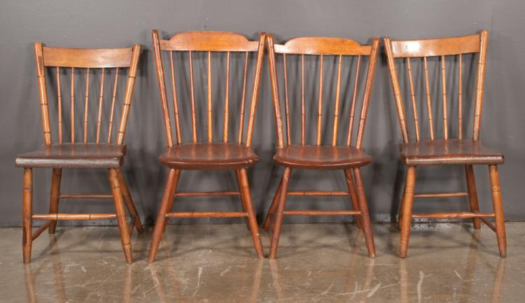 Group of four american windsor side chairs with spindle back for Furniture northgate