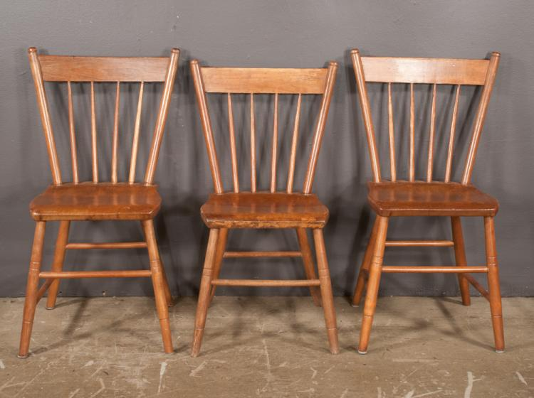 Group of three american windsor spindle back side chairs on for Furniture northgate