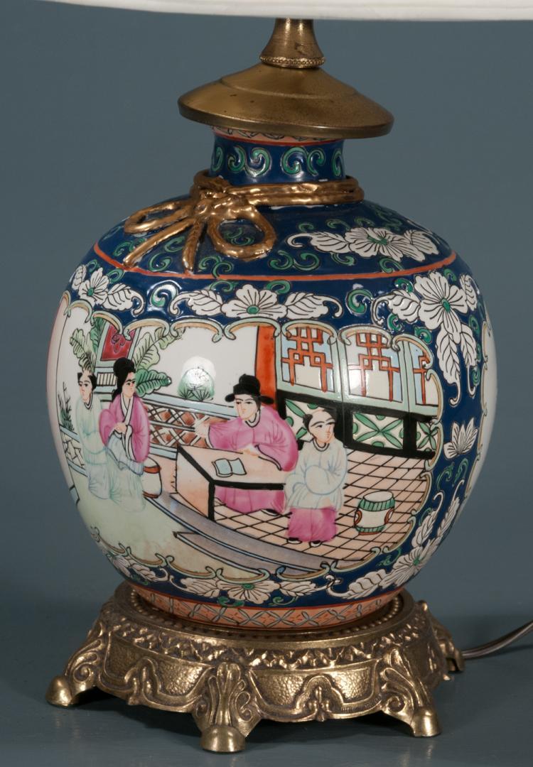 porcelain ginger jar lamp with linen shade and multi color f. Black Bedroom Furniture Sets. Home Design Ideas