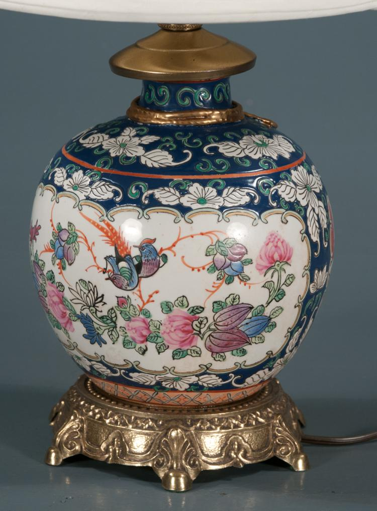 Porcelain Ginger Jar Lamp With Linen Shade And Multi Color F