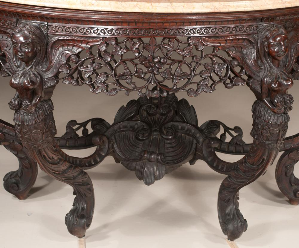 Demilune Marble Top Mahogany Console Table With Heavily Pierced