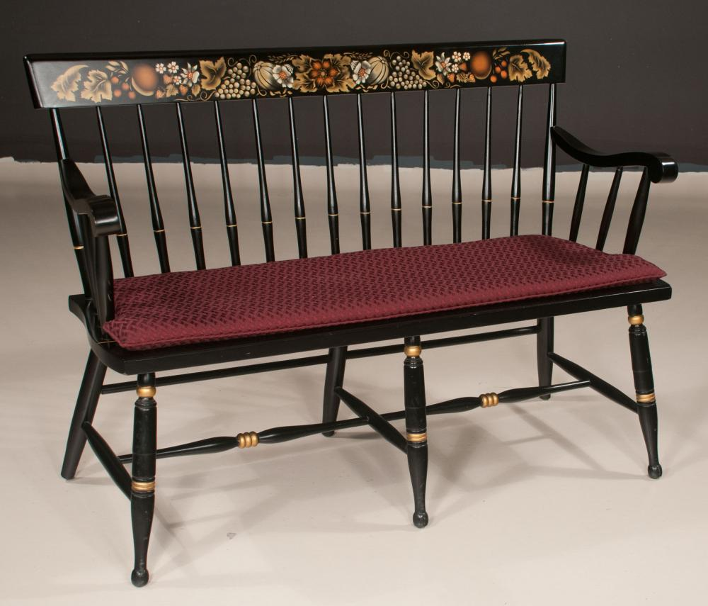 Superb American Hitchcock Style Black Lacquered Settee With Spindle Ocoug Best Dining Table And Chair Ideas Images Ocougorg