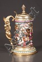 "Exquisite Capo di Monte porcelain stein with bronze handle with mythological figure of a man holding a dragon, c.1807, 14"" high"
