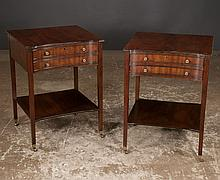 Pair of Sheraton style mahogany two drawer side tables on straight legs with lower shelf, by