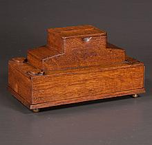 Oriental wooden game box fitted with card box and cribbage board, 12: long, 6