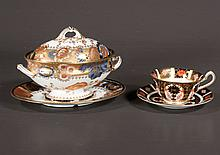Royal Crown Derby oval sauce tureen and platter with gold gilt and floral decoration, c.1900, 9