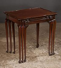 Nest of three Queen Anne style mahogany tables on cabriole legs with pad feet, 26