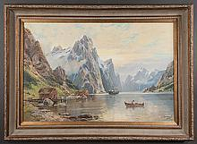 Oil painting on canvas, Norwegian mountain scene with river boats and cabins, canvas size, 24