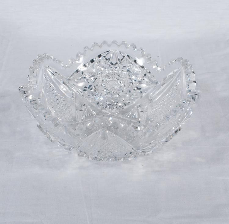 Fancy cut glass bowl with scalloped top and in a diamond cut design, 8