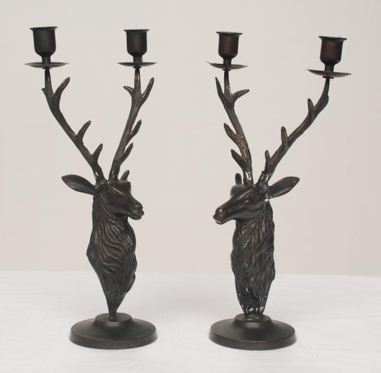 Pair of two branch bronze candle holders with deer head bases, 14