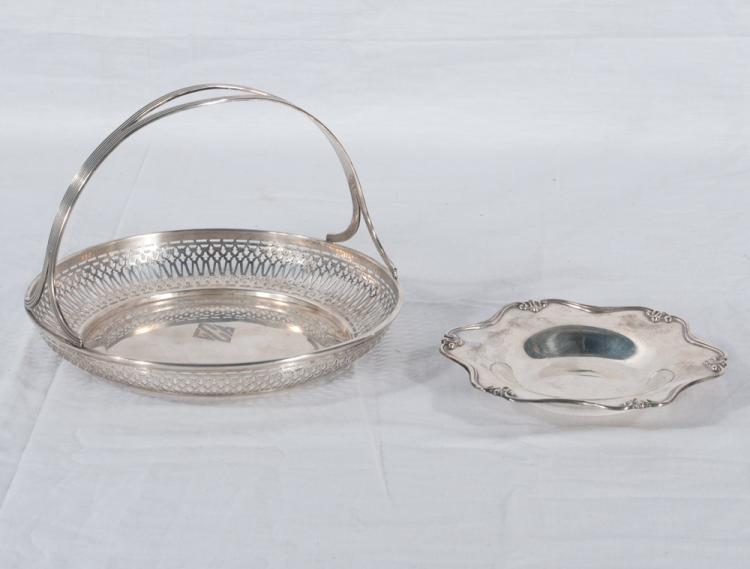 Sterling silver basket with reticulated sides and beaded handle, 7.5